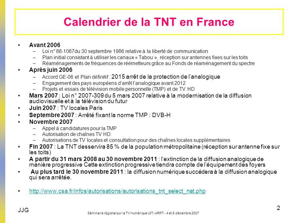 JJG Séminaire régional sur la TV numérique UIT- ARPT - 4 et 5 décembre 2007 3 18 chaînes nationales gratuites sont diffusées sur la TNT 15 chaînes locales gratuites dont 7 en région parisienne 11 chaînes payantes 3 chaînes HD (huit chaînes HD avant la fin de l année 2008) 1 TMP : en cours (13 programmes) Bilan actuel