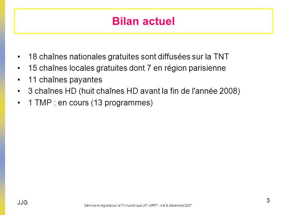 JJG Séminaire régional sur la TV numérique UIT- ARPT - 4 et 5 décembre 2007 3 18 chaînes nationales gratuites sont diffusées sur la TNT 15 chaînes loc