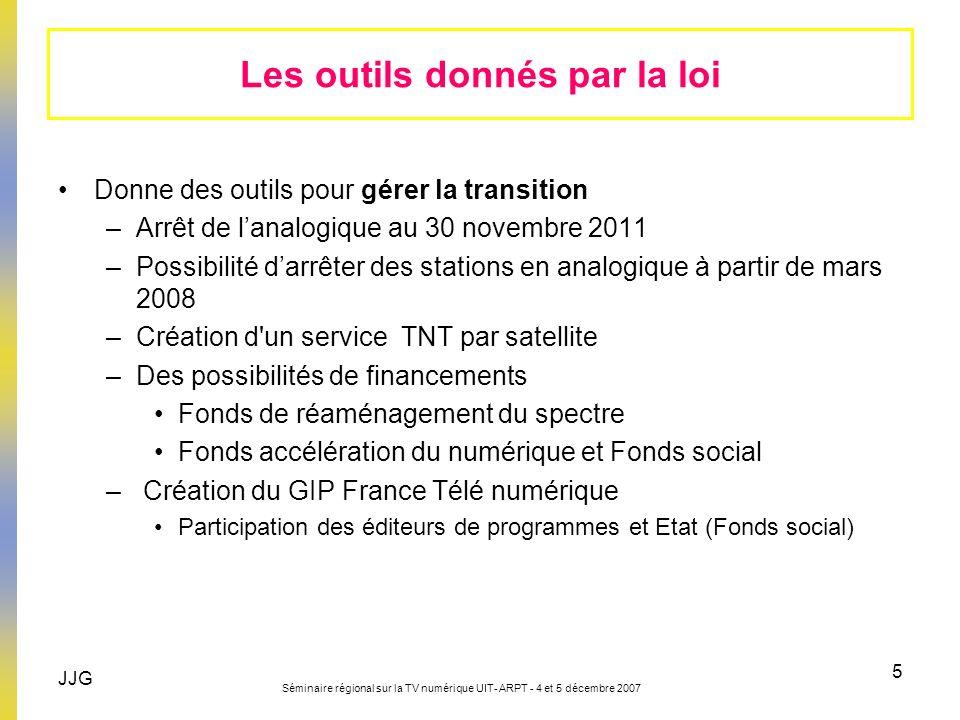 JJG Séminaire régional sur la TV numérique UIT- ARPT - 4 et 5 décembre 2007 5 Donne des outils pour gérer la transition –Arrêt de lanalogique au 30 no