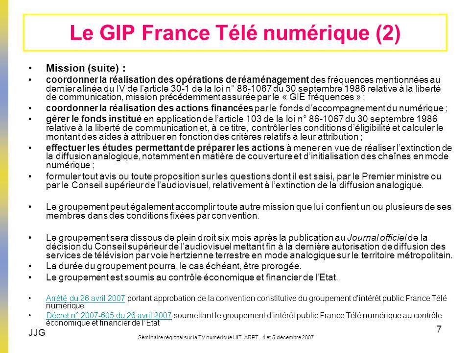 JJG Séminaire régional sur la TV numérique UIT- ARPT - 4 et 5 décembre 2007 7 Mission (suite) : coordonner la réalisation des opérations de réaménagem