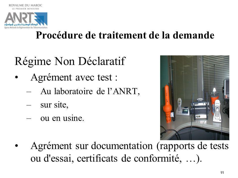 11 Procédure de traitement de la demande Régime Non Déclaratif Agrément avec test : –Au laboratoire de lANRT, –sur site, –ou en usine. Agrément sur do