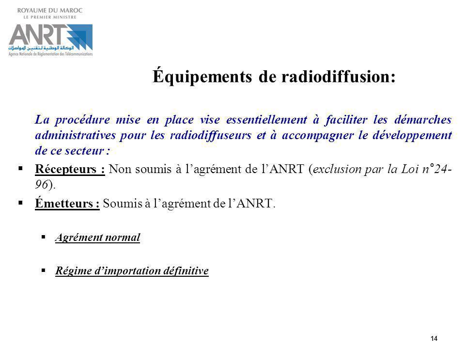 14 Équipements de radiodiffusion: La procédure mise en place vise essentiellement à faciliter les démarches administratives pour les radiodiffuseurs e