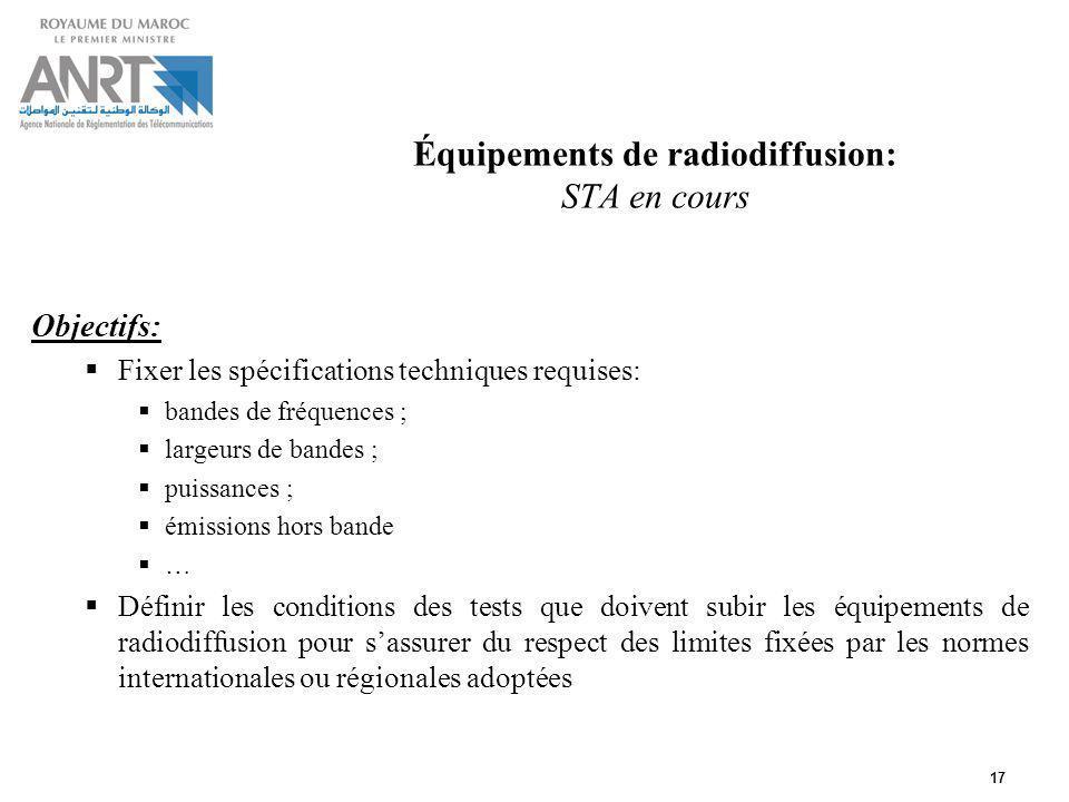 17 Équipements de radiodiffusion: STA en cours Objectifs: Fixer les spécifications techniques requises: bandes de fréquences ; largeurs de bandes ; pu