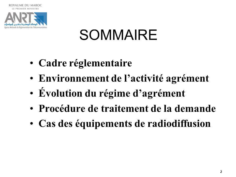 2 SOMMAIRE Cadre réglementaire Environnement de lactivité agrément Évolution du régime dagrément Procédure de traitement de la demande Cas des équipem