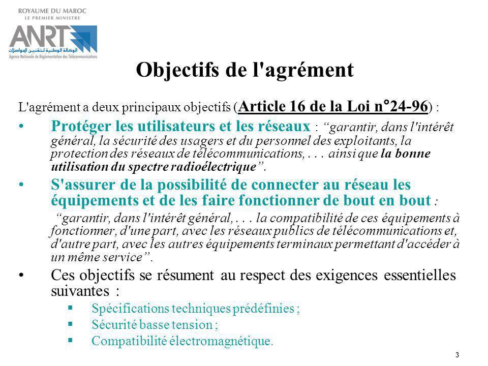 3 Cadre réglementaire: Objectifs de l'agrément L'agrément a deux principaux objectifs ( Article 16 de la Loi n°24-96 ) : Protéger les utilisateurs et
