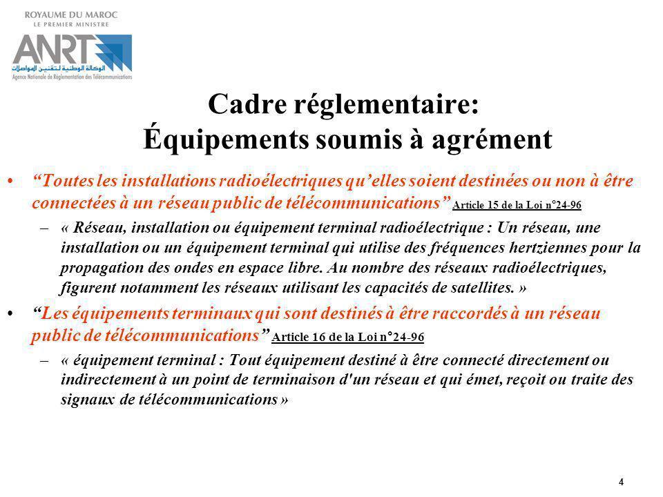 4 Cadre réglementaire: Équipements soumis à agrément Toutes les installations radioélectriques quelles soient destinées ou non à être connectées à un