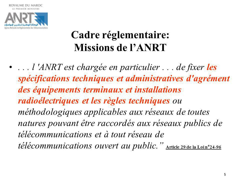 5 Cadre réglementaire: Missions de lANRT... l 'ANRT est chargée en particulier... de fixer les spécifications techniques et administratives d'agrément