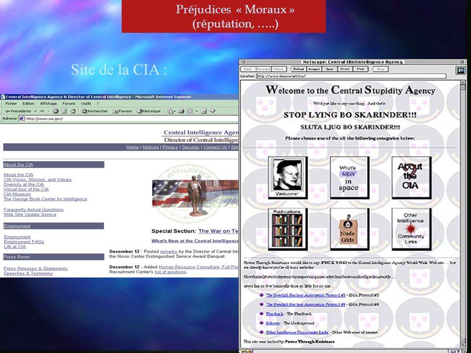 Préjudices « Moraux » (réputation, …..) Site de la CIA :