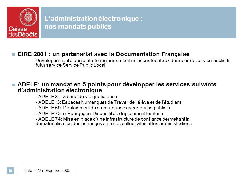 Idate – 22 novembre 2005 10 Ladministration électronique : nos mandats publics CIRE 2001 : un partenariat avec la Documentation Française Développemen