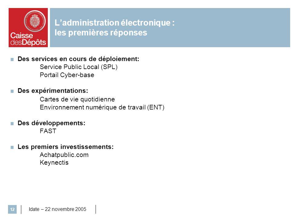 Idate – 22 novembre 2005 12 Des services en cours de déploiement: Service Public Local (SPL) Portail Cyber-base Des expérimentations: Cartes de vie qu