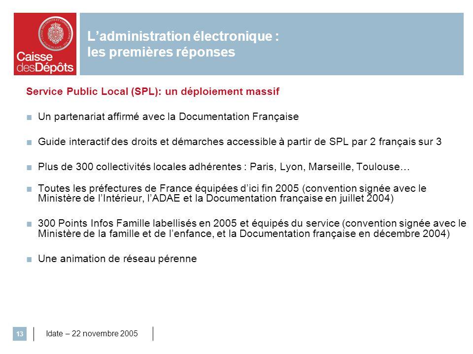 Idate – 22 novembre 2005 13 Service Public Local (SPL): un déploiement massif Un partenariat affirmé avec la Documentation Française Guide interactif