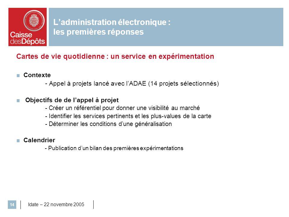 Idate – 22 novembre 2005 14 Cartes de vie quotidienne : un service en expérimentation Contexte - Appel à projets lancé avec lADAE (14 projets sélectio