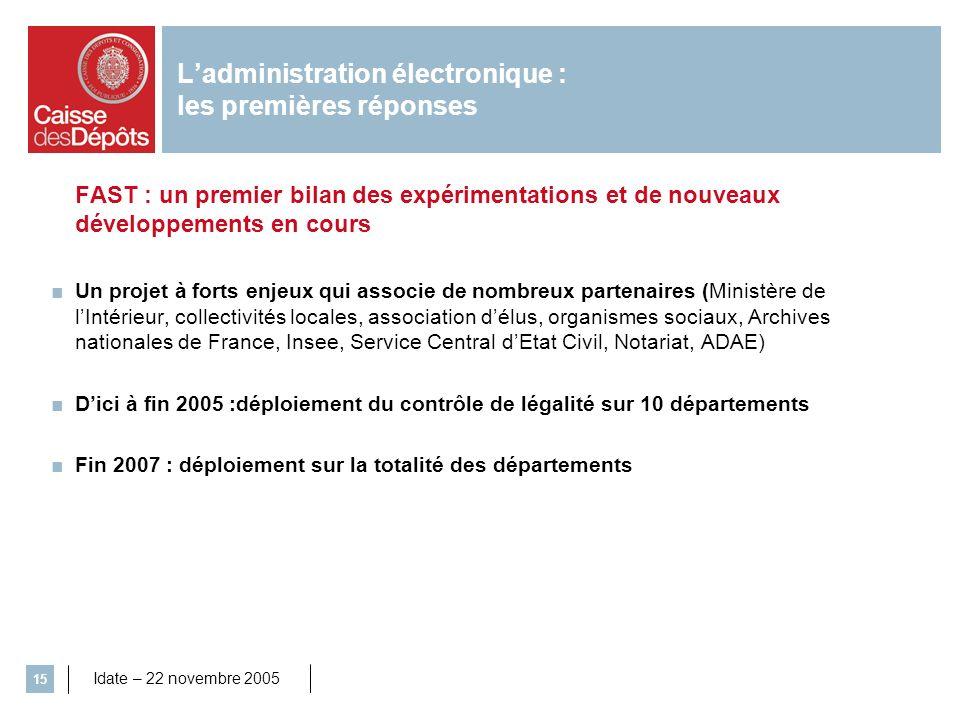 Idate – 22 novembre 2005 15 Ladministration électronique : les premières réponses FAST : un premier bilan des expérimentations et de nouveaux développ