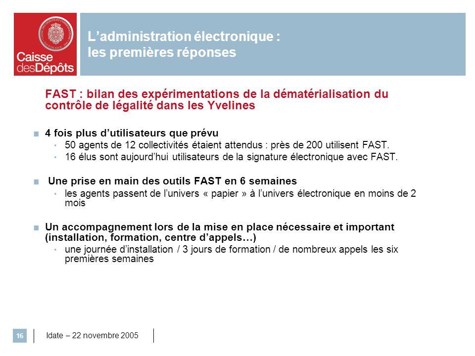 Idate – 22 novembre 2005 16 Ladministration électronique : les premières réponses FAST : bilan des expérimentations de la dématérialisation du contrôl
