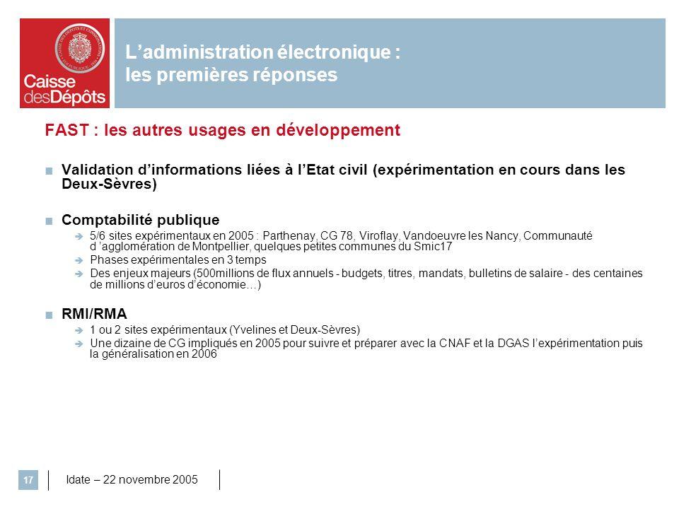 Idate – 22 novembre 2005 17 Ladministration électronique : les premières réponses FAST : les autres usages en développement Validation dinformations l