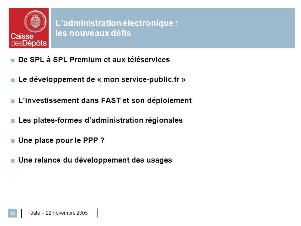 Idate – 22 novembre 2005 18 De SPL à SPL Premium et aux téléservices Le développement de « mon service-public.fr » Linvestissement dans FAST et son dé