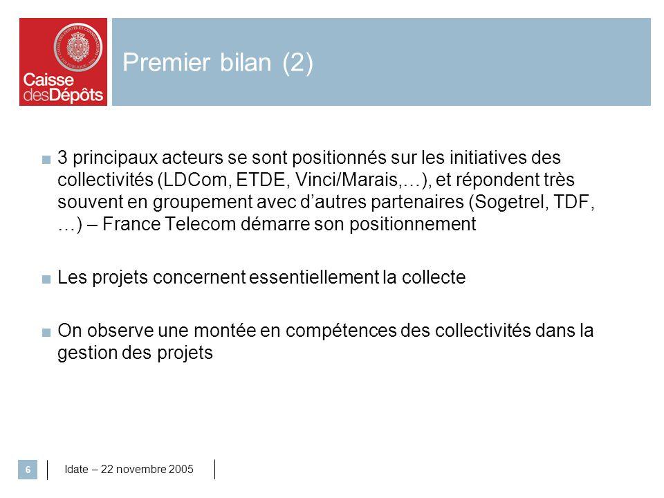 Idate – 22 novembre 2005 6 Premier bilan (2) 3 principaux acteurs se sont positionnés sur les initiatives des collectivités (LDCom, ETDE, Vinci/Marais