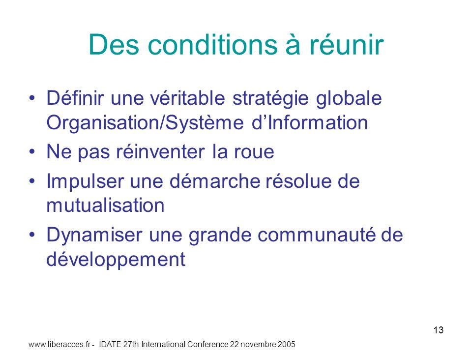 www.liberacces.fr - IDATE 27th International Conference 22 novembre 2005 13 Des conditions à réunir Définir une véritable stratégie globale Organisation/Système dInformation Ne pas réinventer la roue Impulser une démarche résolue de mutualisation Dynamiser une grande communauté de développement