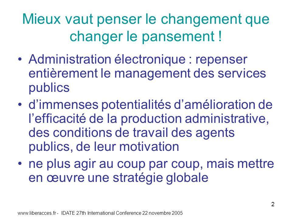 www.liberacces.fr - IDATE 27th International Conference 22 novembre 2005 2 Mieux vaut penser le changement que changer le pansement .