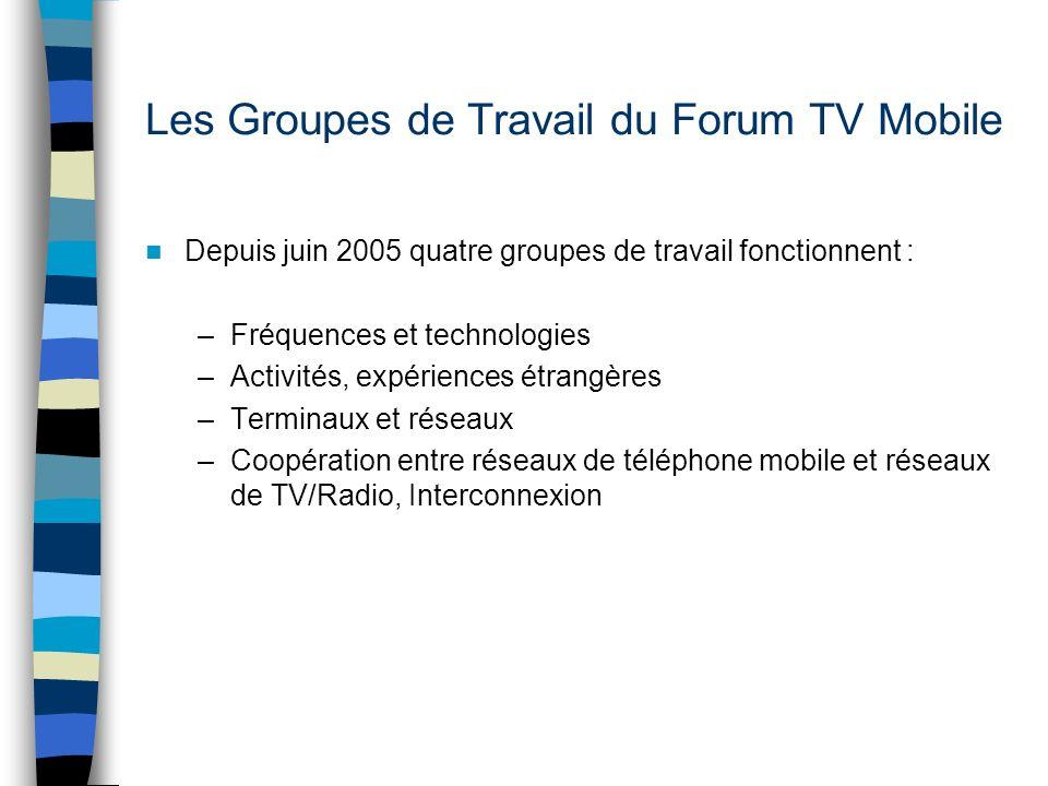 Les Groupes de Travail du Forum TV Mobile Depuis juin 2005 quatre groupes de travail fonctionnent : –Fréquences et technologies –Activités, expériences étrangères –Terminaux et réseaux –Coopération entre réseaux de téléphone mobile et réseaux de TV/Radio, Interconnexion