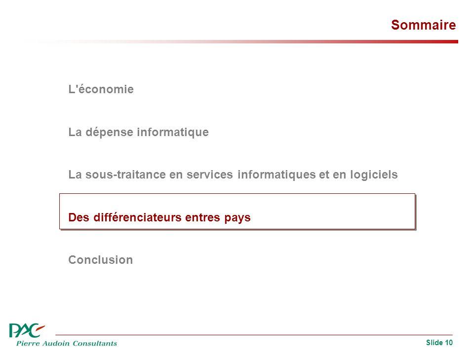 Slide 10 Sommaire L'économie La dépense informatique La sous-traitance en services informatiques et en logiciels Des différenciateurs entres pays Conc