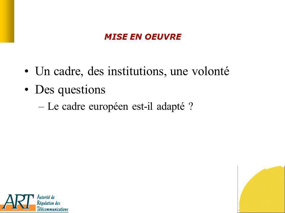 MISE EN OEUVRE Un cadre, des institutions, une volonté Des questions –Le cadre européen est-il adapté ?