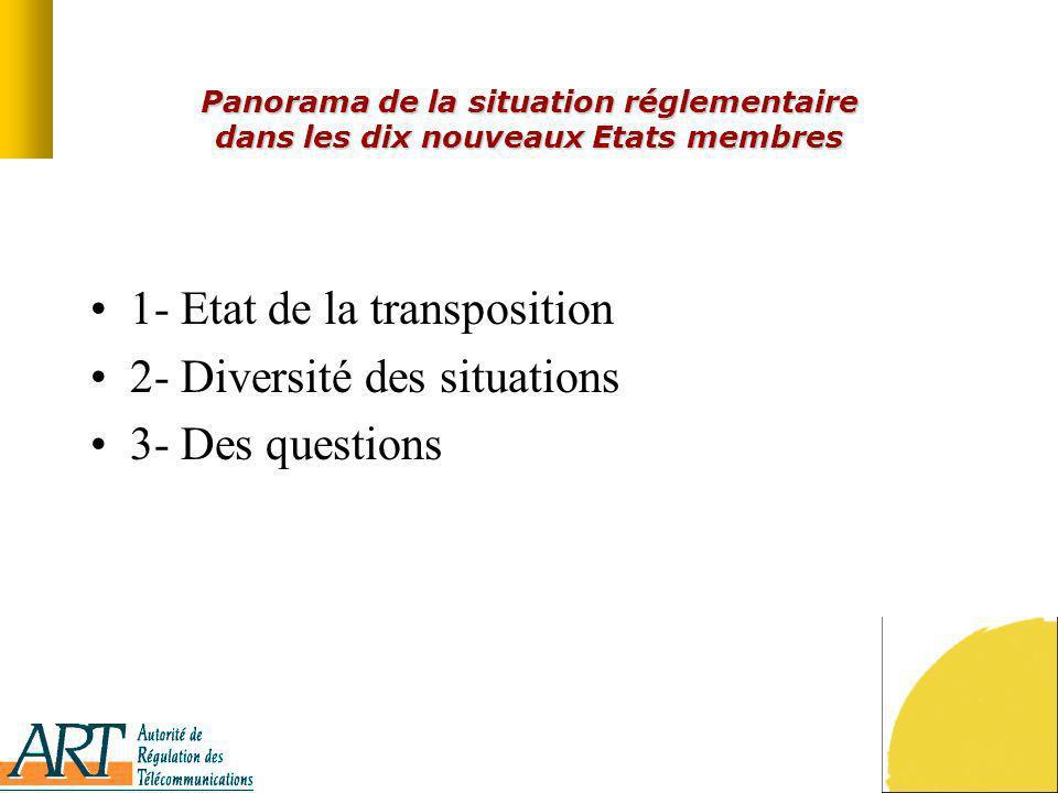 Panorama de la situation réglementaire dans les dix nouveaux Etats membres 1- Etat de la transposition 2- Diversité des situations 3- Des questions