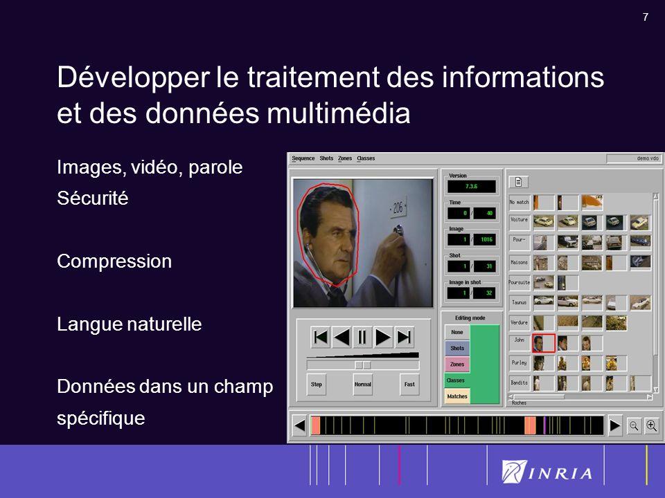 7 Développer le traitement des informations et des données multimédia Images, vidéo, parole Sécurité Compression Langue naturelle Données dans un champ spécifique
