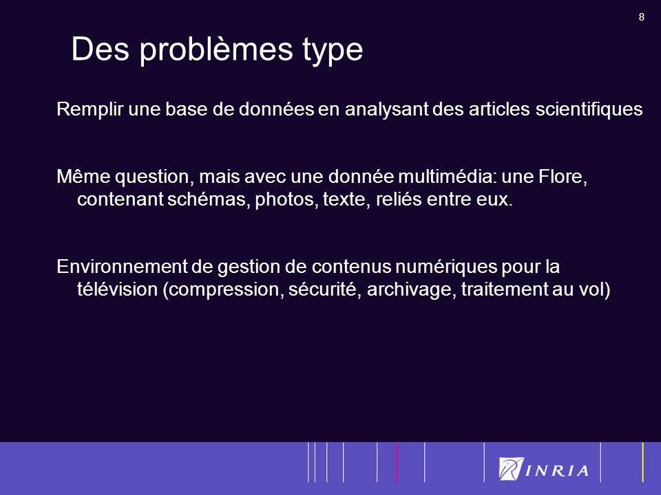 8 Des problèmes type Remplir une base de données en analysant des articles scientifiques Même question, mais avec une donnée multimédia: une Flore, contenant schémas, photos, texte, reliés entre eux.