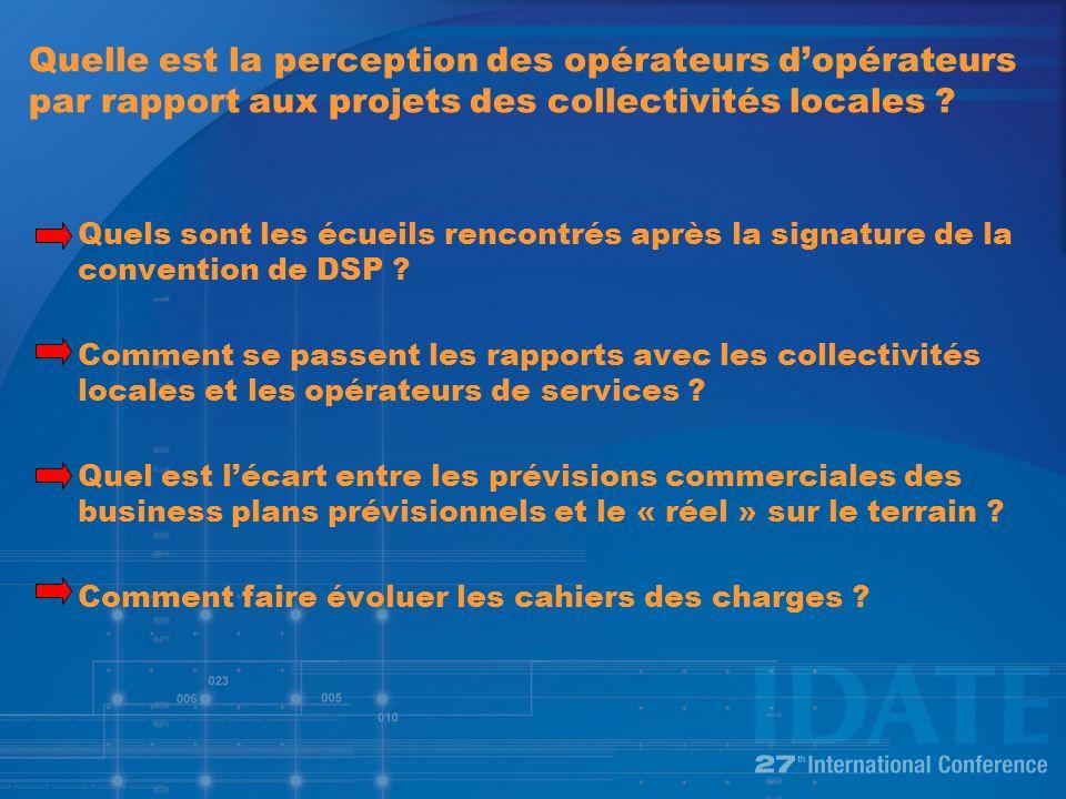 Quelle est la perception des opérateurs dopérateurs par rapport aux projets des collectivités locales .