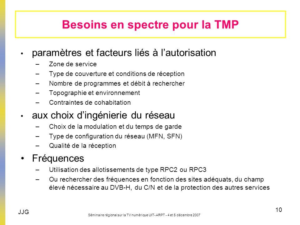 JJG Séminaire régional sur la TV numérique UIT- ARPT - 4 et 5 décembre 2007 10 Besoins en spectre pour la TMP paramètres et facteurs liés à lautorisat