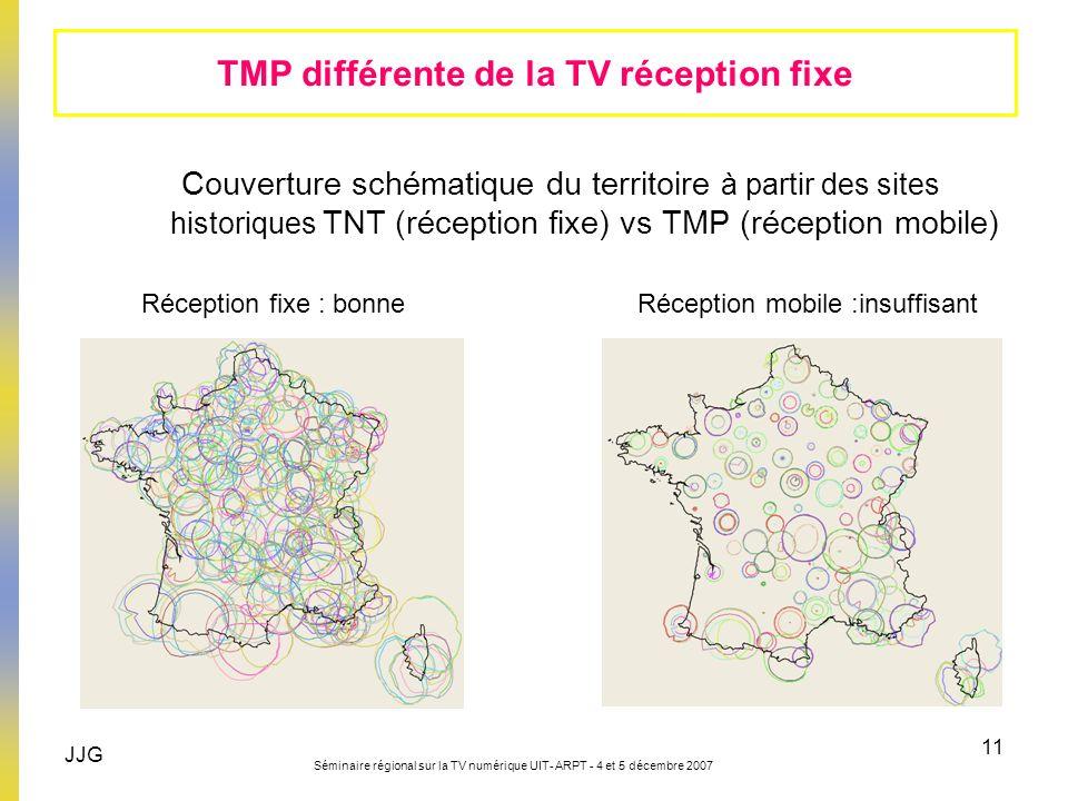 JJG Séminaire régional sur la TV numérique UIT- ARPT - 4 et 5 décembre 2007 11 TMP différente de la TV réception fixe Couverture schématique du territ