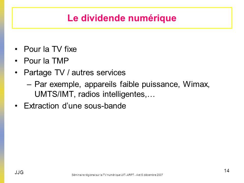 JJG Séminaire régional sur la TV numérique UIT- ARPT - 4 et 5 décembre 2007 14 Le dividende numérique Pour la TV fixe Pour la TMP Partage TV / autres