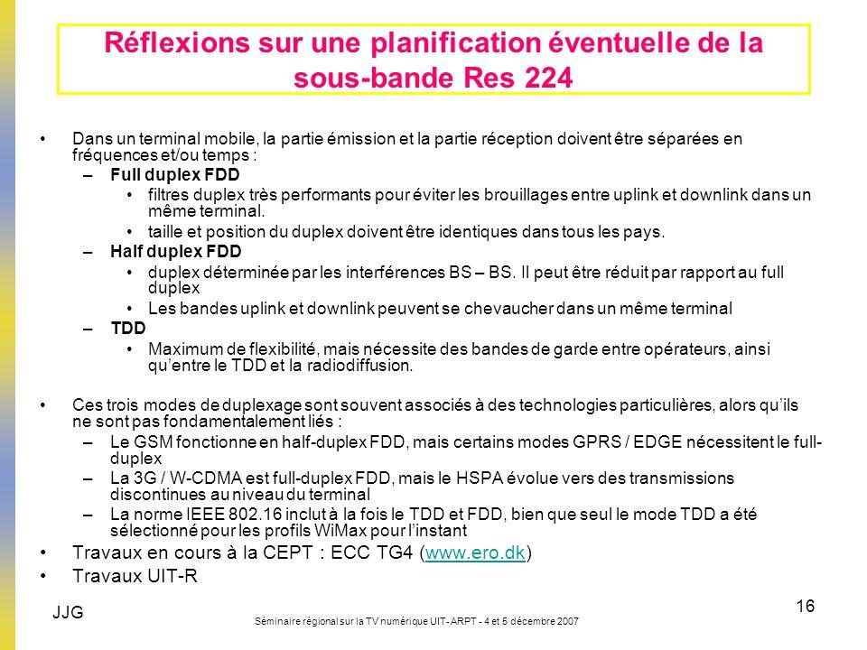 JJG Séminaire régional sur la TV numérique UIT- ARPT - 4 et 5 décembre 2007 16 Réflexions sur une planification éventuelle de la sous-bande Res 224 Da