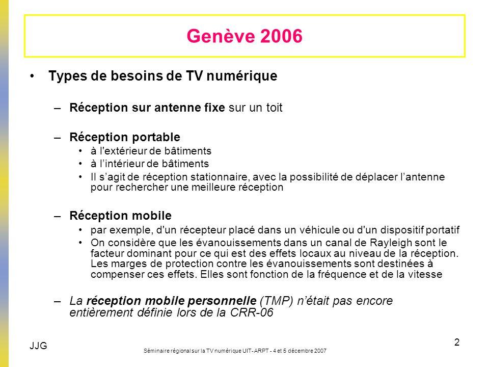 JJG Séminaire régional sur la TV numérique UIT- ARPT - 4 et 5 décembre 2007 2 Genève 2006 Types de besoins de TV numérique –Réception sur antenne fixe