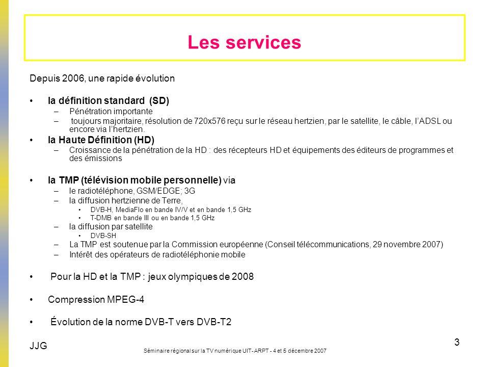 JJG Séminaire régional sur la TV numérique UIT- ARPT - 4 et 5 décembre 2007 3 Depuis 2006, une rapide évolution la définition standard (SD) –Pénétrati