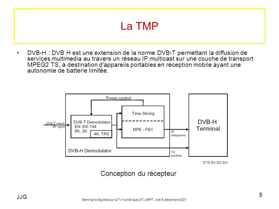 JJG Séminaire régional sur la TV numérique UIT- ARPT - 4 et 5 décembre 2007 5 La TMP DVB-H : DVB H est une extension de la norme DVB-T permettant la d