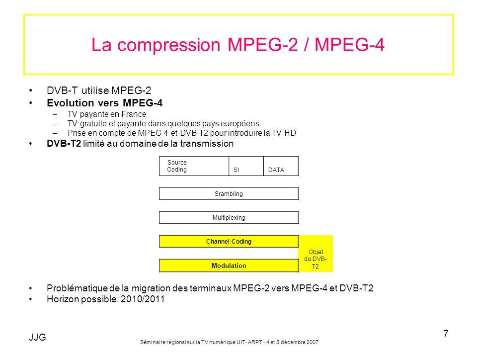 JJG Séminaire régional sur la TV numérique UIT- ARPT - 4 et 5 décembre 2007 7 La compression MPEG-2 / MPEG-4 DVB-T utilise MPEG-2 Evolution vers MPEG-