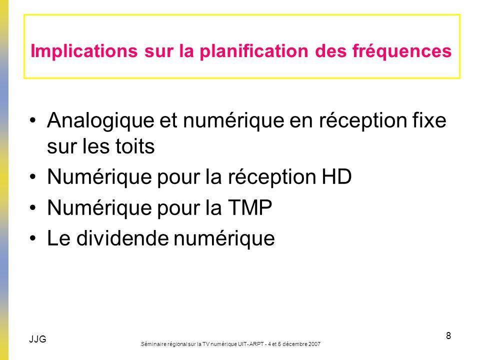JJG Séminaire régional sur la TV numérique UIT- ARPT - 4 et 5 décembre 2007 8 Analogique et numérique en réception fixe sur les toits Numérique pour l