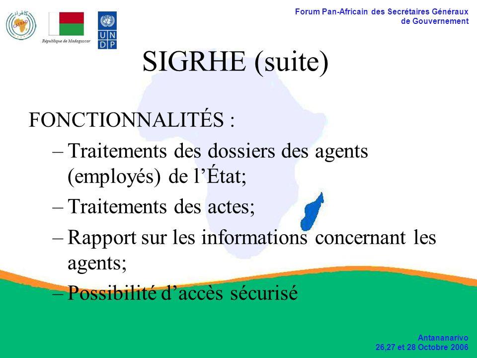Forum Pan-Africain des Secrétaires Généraux de Gouvernement Antananarivo 26,27 et 28 Octobre 2006 SIGRHE (suite) FONCTIONNALITÉS : –Traitements des do