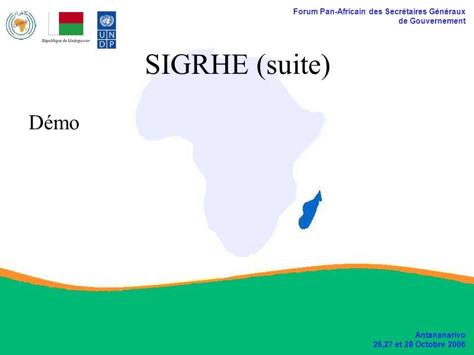 Forum Pan-Africain des Secrétaires Généraux de Gouvernement Antananarivo 26,27 et 28 Octobre 2006 SIGRHE (suite) Démo