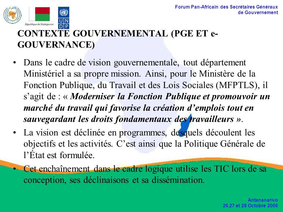 Forum Pan-Africain des Secrétaires Généraux de Gouvernement Antananarivo 26,27 et 28 Octobre 2006 SIGRHE (suite) FONCTIONNALITÉS : –Traitements des dossiers des agents (employés) de lÉtat; –Traitements des actes; –Rapport sur les informations concernant les agents; –Possibilité daccès sécurisé
