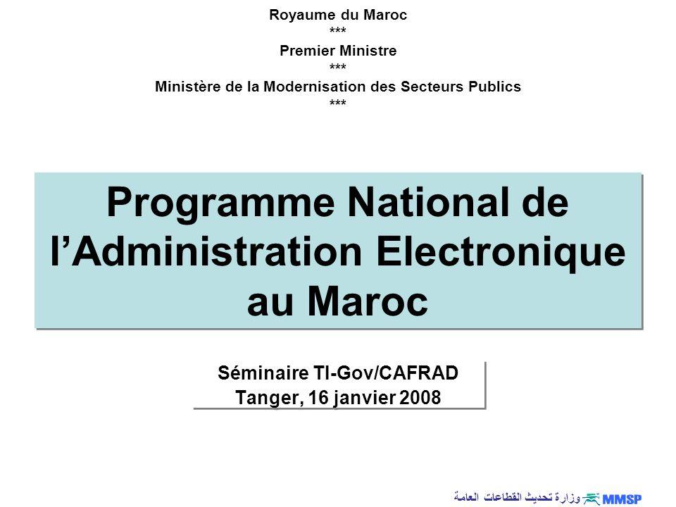 وزارة تحديث القطاعات العامة Dévept de léconomie du savoir Positionnement du Maroc Inclusion Numérique Environnement Gouvernance Infrastructure Formation Contenu Industrie TIC Télé services Accès Stratégie e-Maroc : e-Maroc 2010