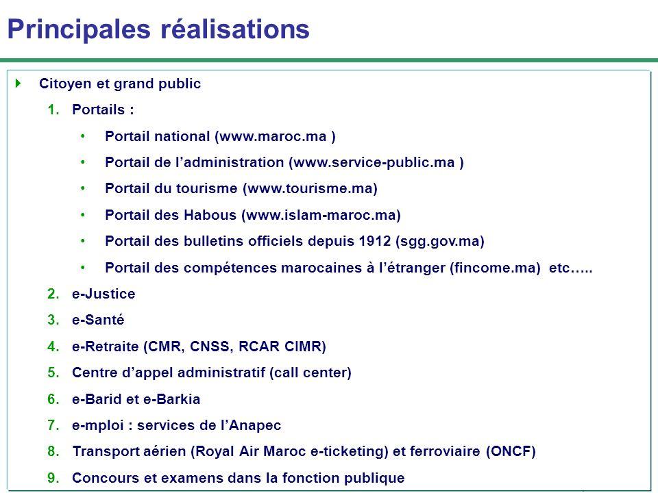 وزارة تحديث القطاعات العامة Principales réalisations Citoyen et grand public 1.Portails : Portail national (www.maroc.ma ) Portail de ladministration