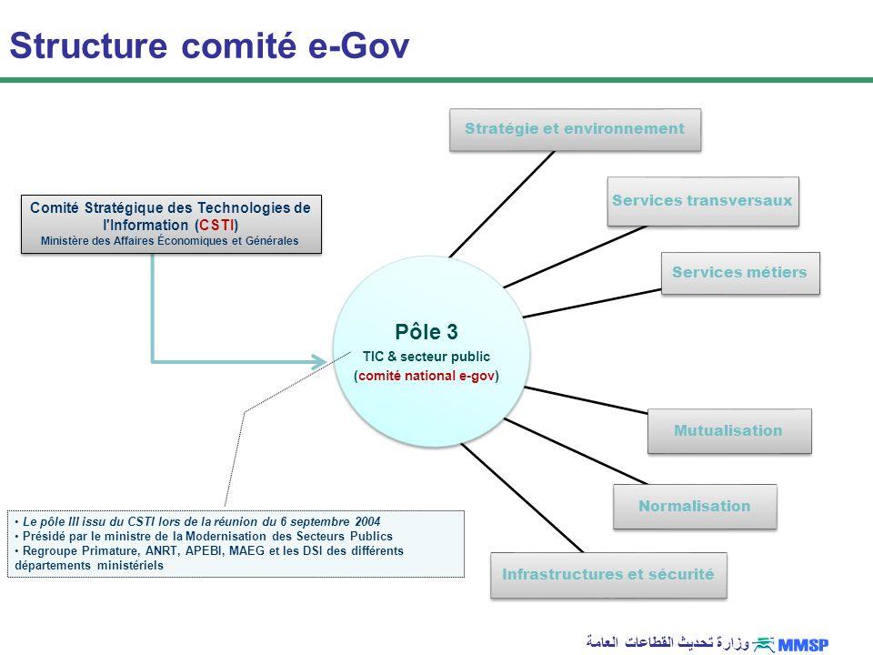 وزارة تحديث القطاعات العامة Stratégie et environnement Normalisation Services métiers Services transversaux Infrastructures et sécurité Mutualisation