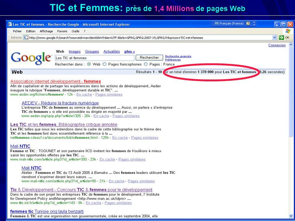 15 TIC et Femmes: près de 1,4 Millions de pages Web