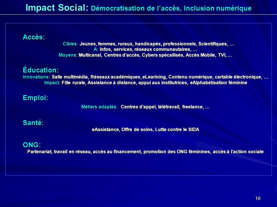 18 Accès: Cibles: Jeunes, femmes, ruraux, handicapés, professionnels, Scientifiques, … A: Infos, services, réseaux communautaires, … Moyens: Multicana