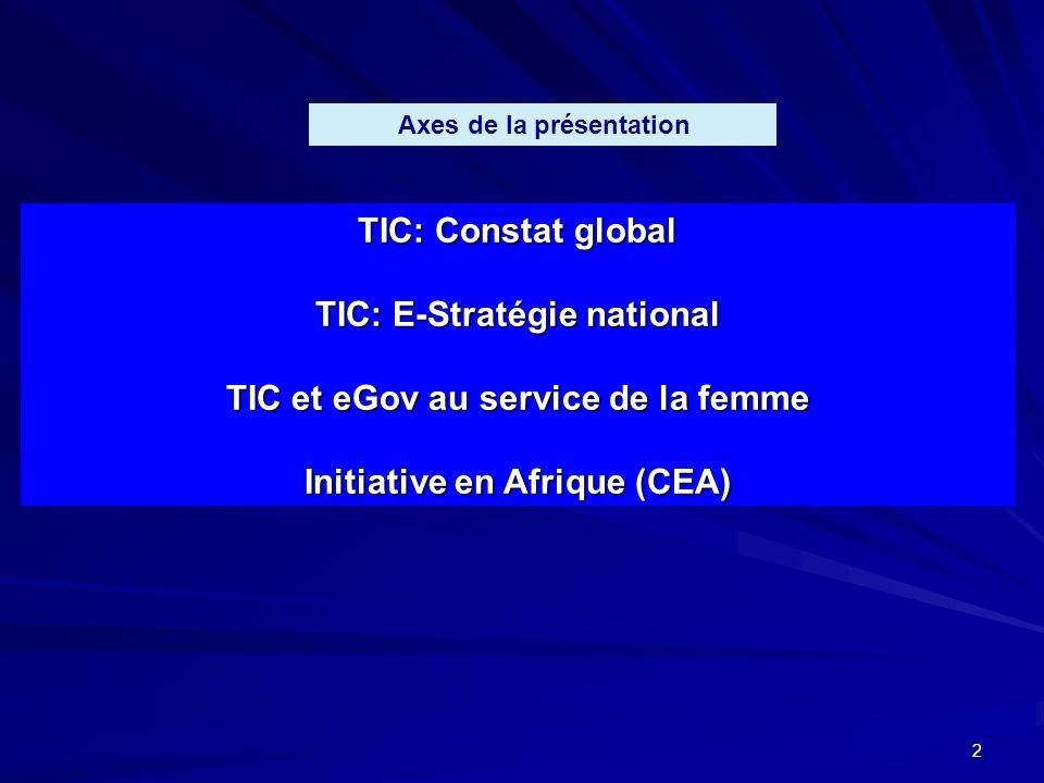 2 TIC: Constat global TIC: E-Stratégie national TIC et eGov au service de la femme Initiative en Afrique (CEA) Axes de la présentation
