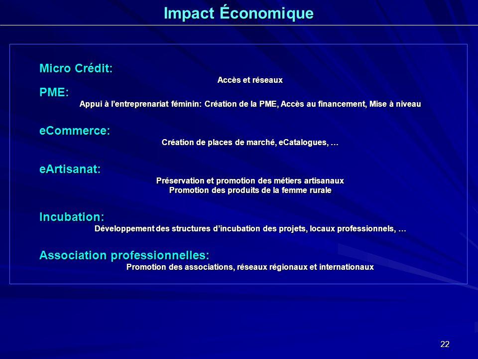 22 Impact Économique Micro Crédit: Accès et réseaux PME: Appui à lentreprenariat féminin: Création de la PME, Accès au financement, Mise à niveau eCom
