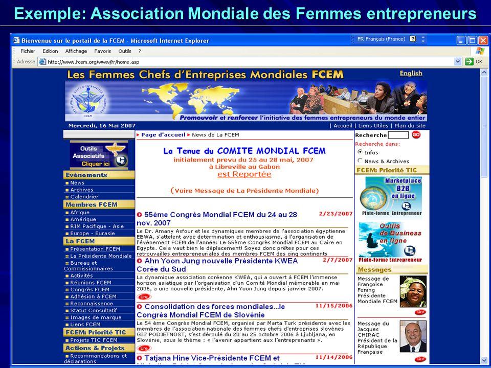 23 Exemple: Association Mondiale des Femmes entrepreneurs